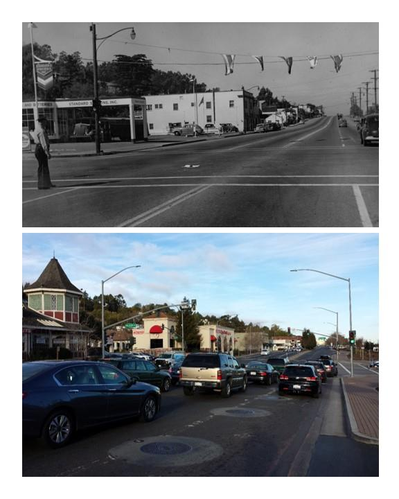 Looking north on El Camino at Ralston Avenue in the early 1950's, and the same view today.
