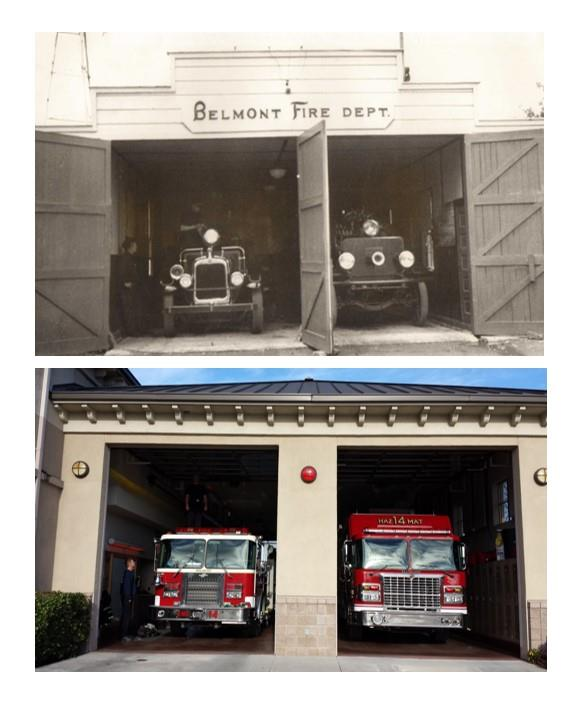 One of the first Belmont Volunteer Fire Department Firehouses, taken in the early 1930's, and a Belmont Fire Station today.