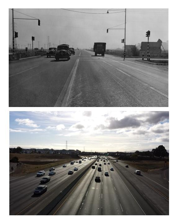 The Bayshore Highway as it appeared in the late 1930's, (and Highway 101 today), looking south at Ralston Ave.