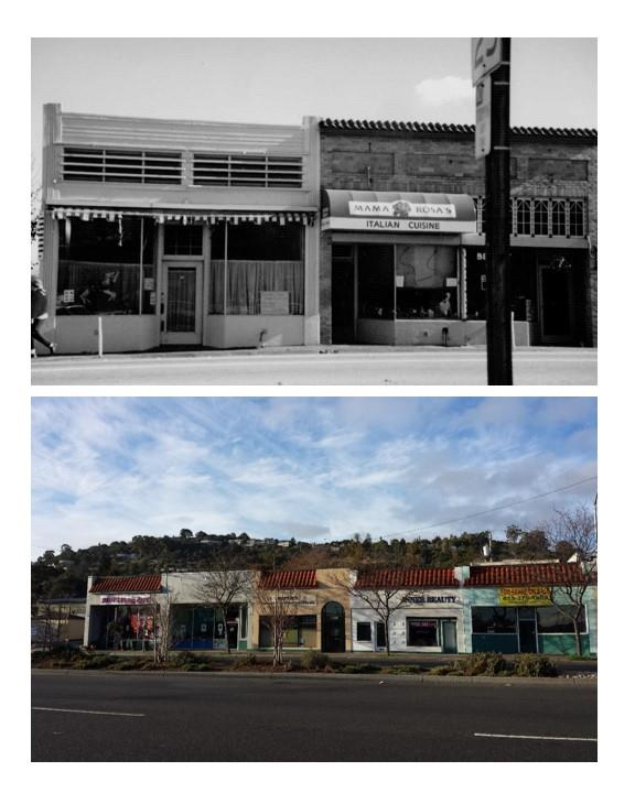 Some of the typical old store fronts in Belmont were built in the 1920's.