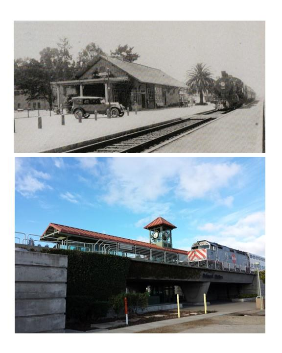 The old train depot as it appeared in the early 1930's, and then as the Belmont Station appears now.