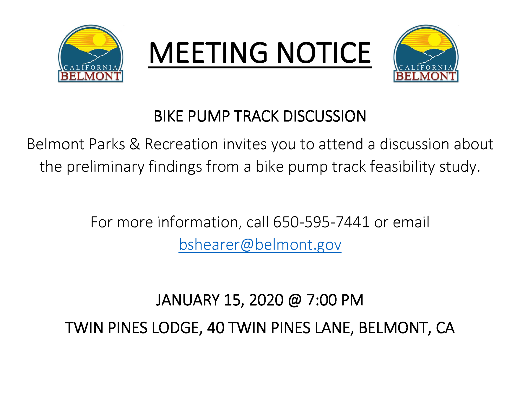 Bike Pump Track Discussion Meeting Notice